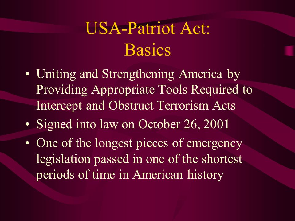 USA-Patriot Act: Basics