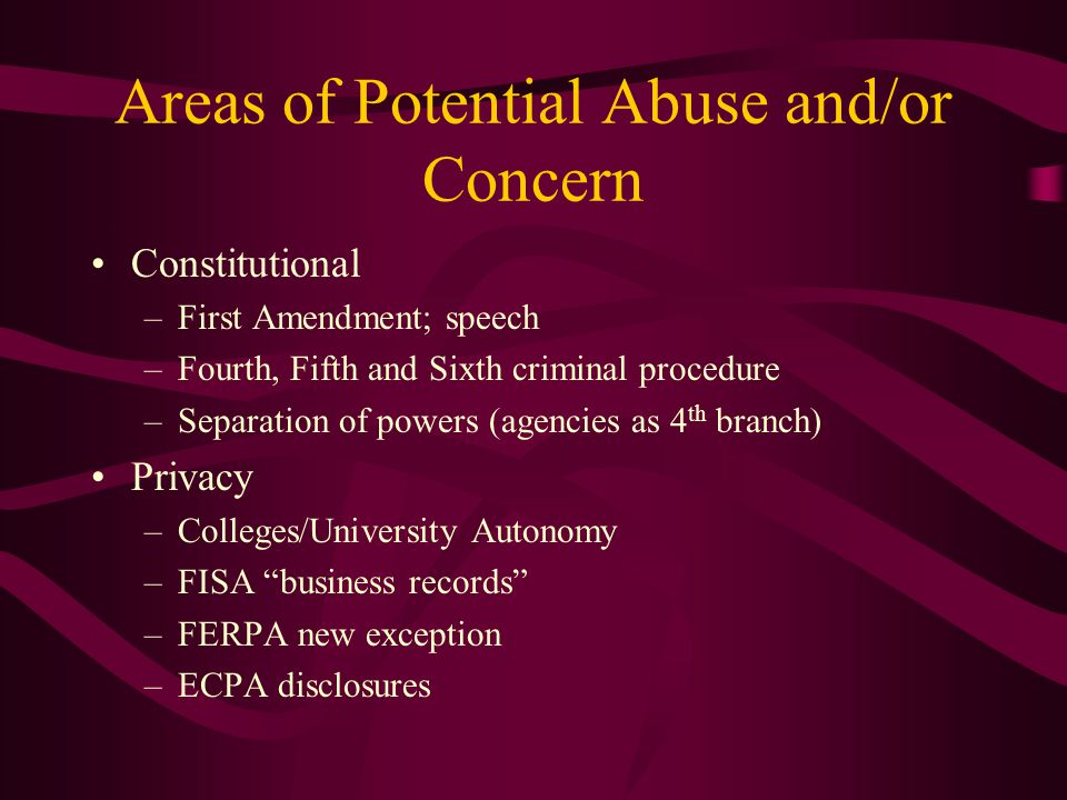 Areas of Potential Abuse and/or Concern