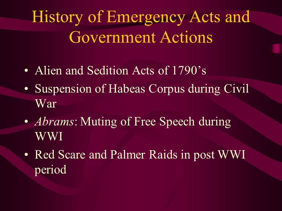 History of Emergency Acts and Government Actions