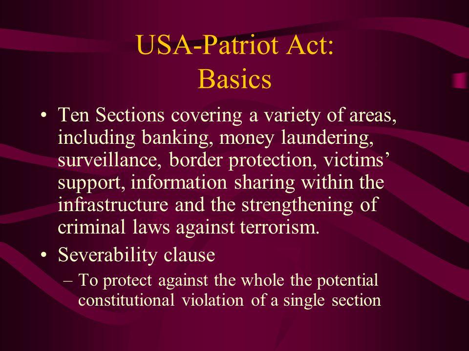 USA-Patriot Act: Basics