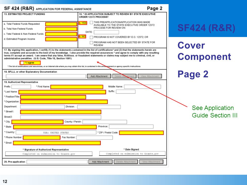 SF424 (R&R) Cover Component Page 2 See Application Guide Section III