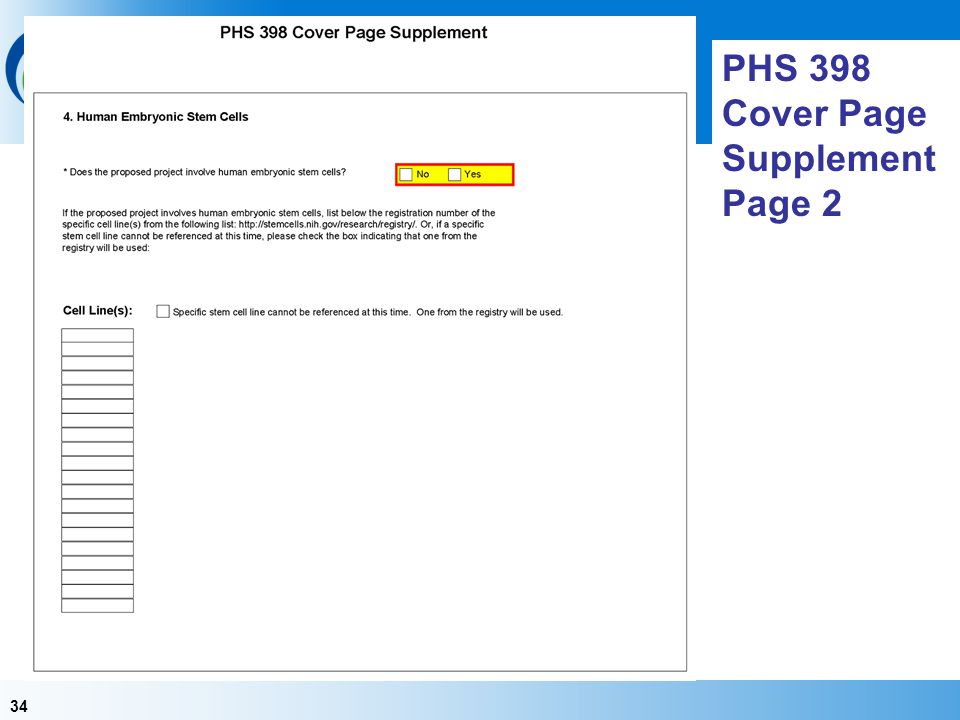 PHS 398 Cover Page Supplement Page 2