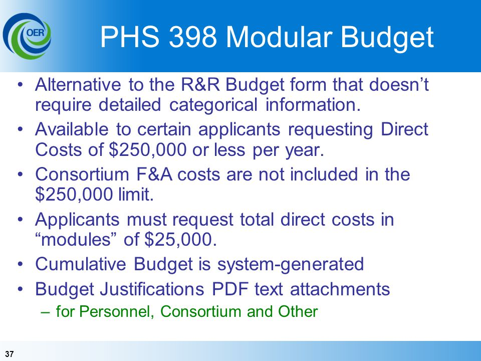 PHS 398 Modular Budget Alternative to the R&R Budget form that doesn't require detailed categorical information.