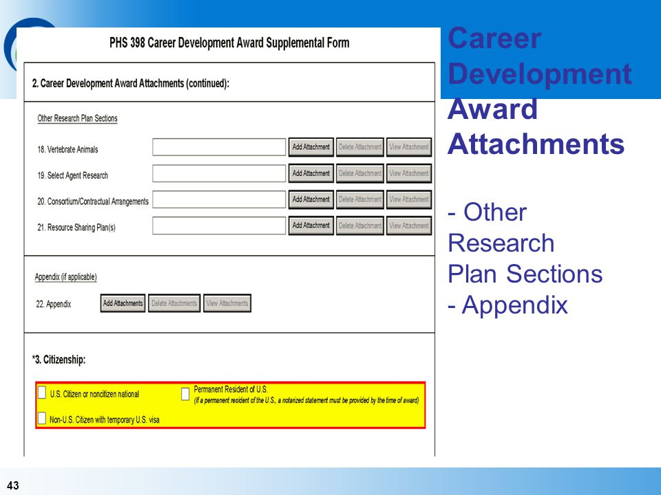 Career Development Award Attachments - Other Research Plan Sections