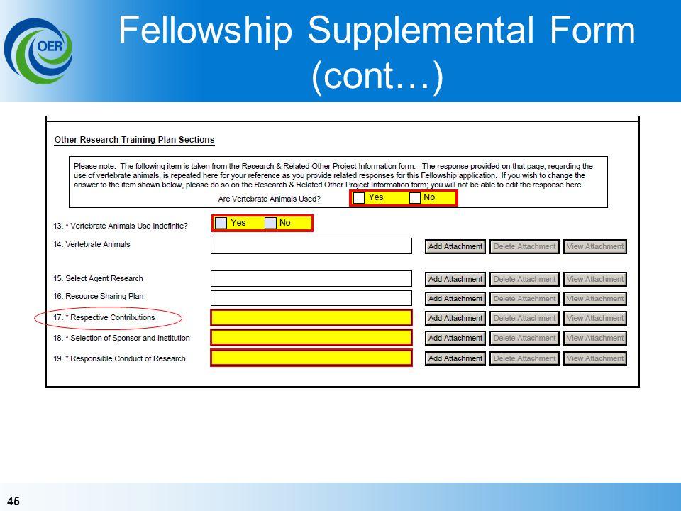 Fellowship Supplemental Form (cont…)