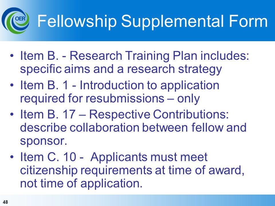 Fellowship Supplemental Form