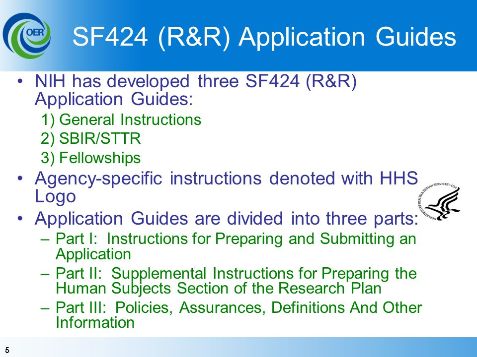 SF424 (R&R) Application Guides