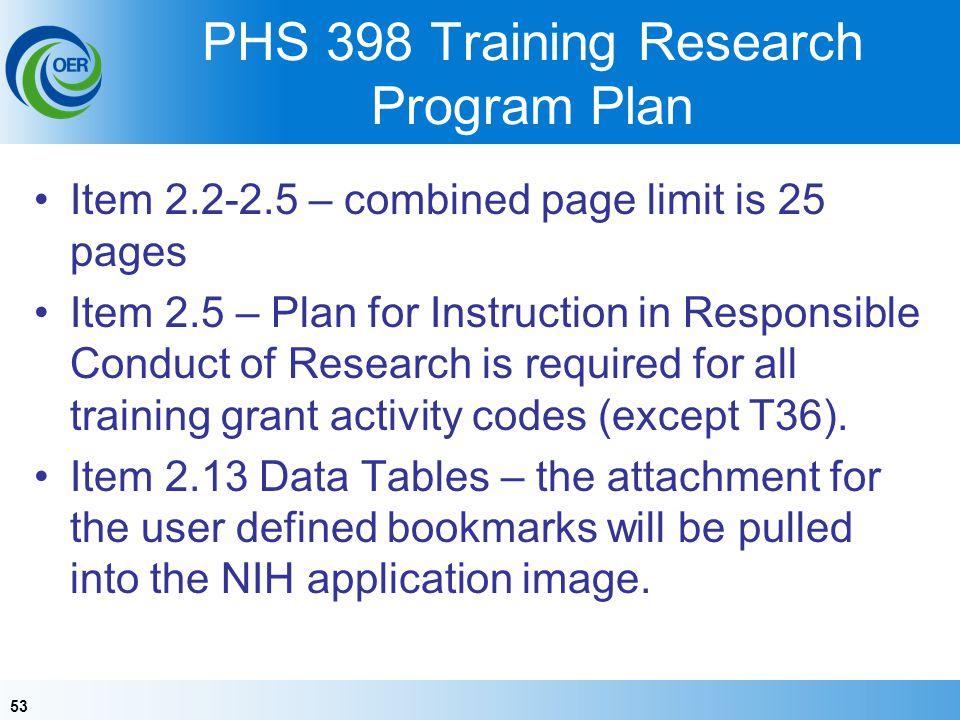 PHS 398 Training Research Program Plan