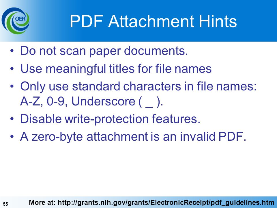 PDF Attachment Hints Do not scan paper documents.