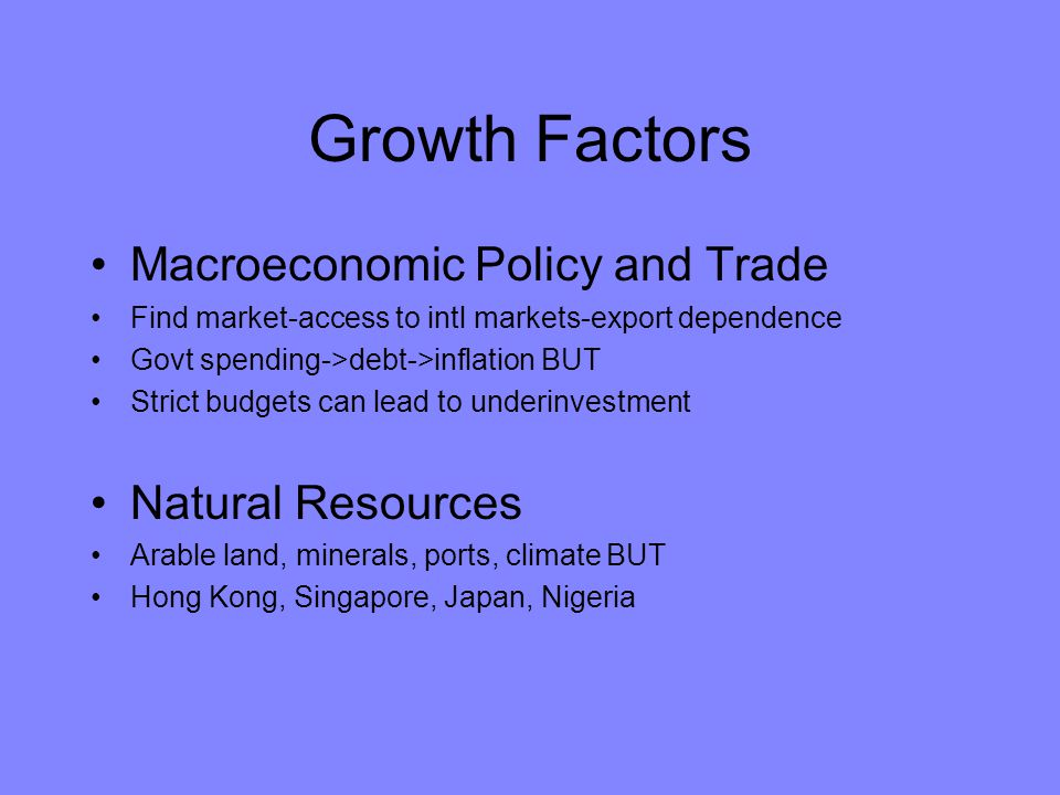 Growth Factors Macroeconomic Policy and Trade Natural Resources