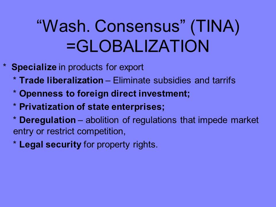 Wash. Consensus (TINA) =GLOBALIZATION