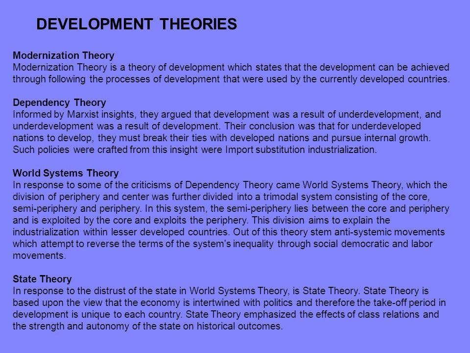 DEVELOPMENT THEORIES Modernization Theory