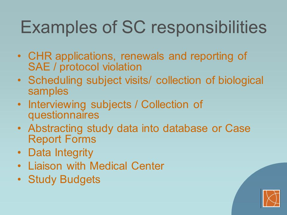 Examples of SC responsibilities
