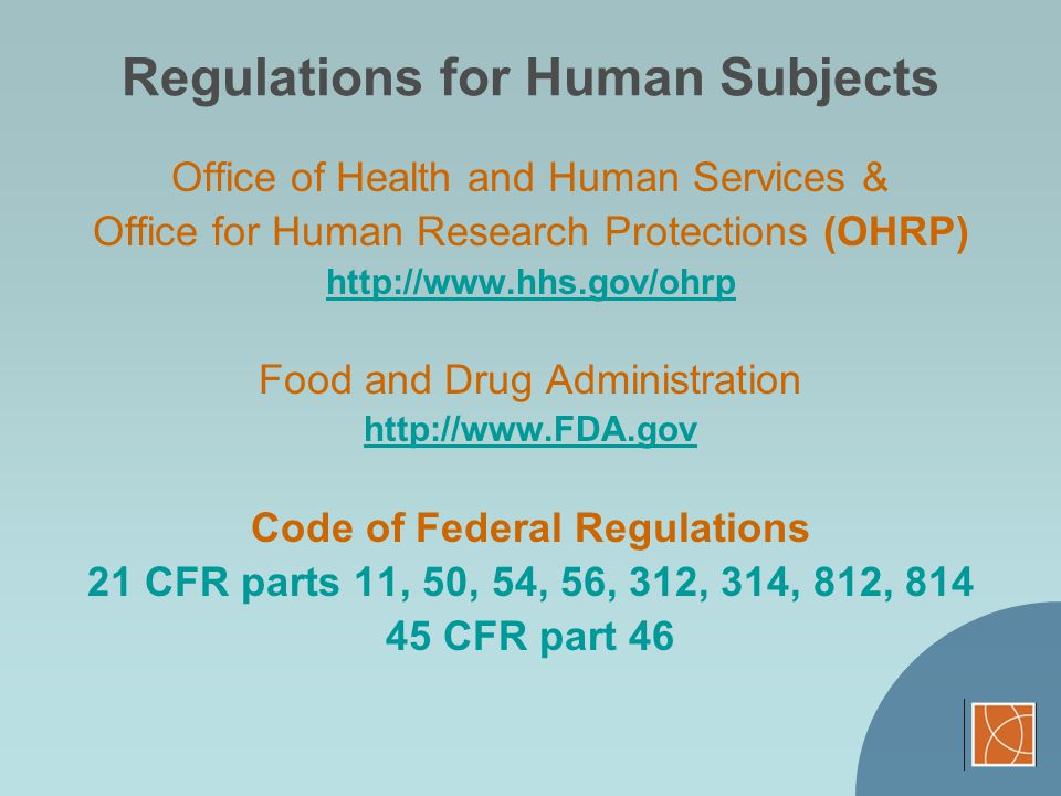 Regulations for Human Subjects