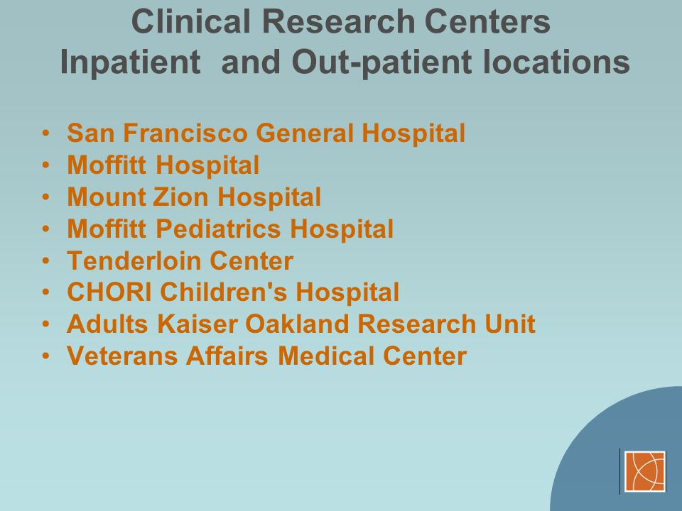 Clinical Research Centers Inpatient and Out-patient locations