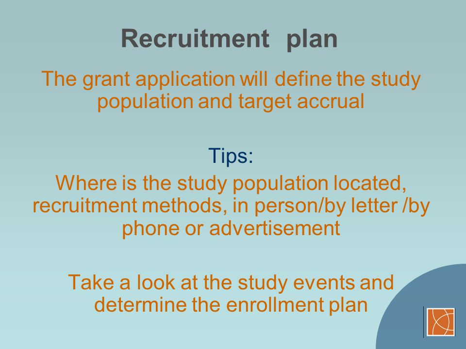 Take a look at the study events and determine the enrollment plan