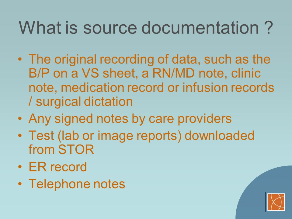 What is source documentation