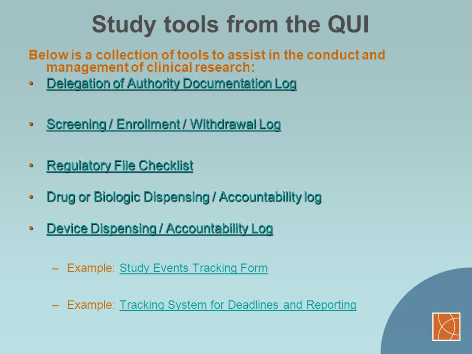 Study tools from the QUI