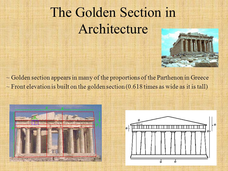 The Golden Section in Architecture