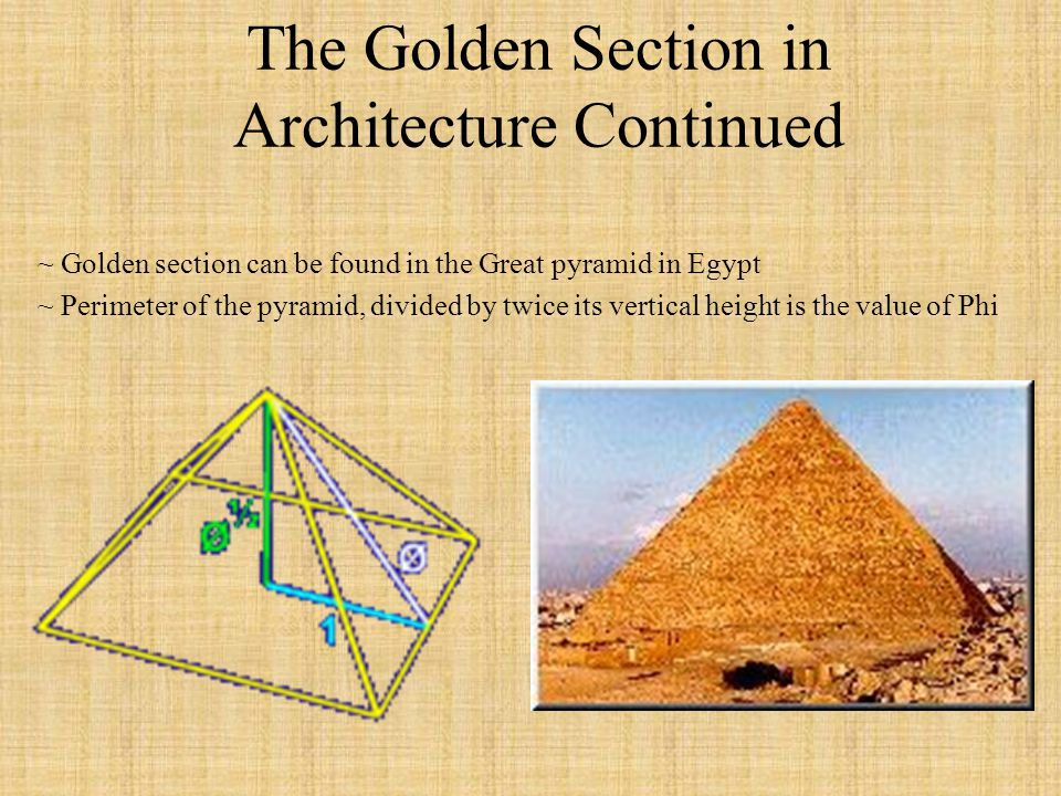 The Golden Section in Architecture Continued
