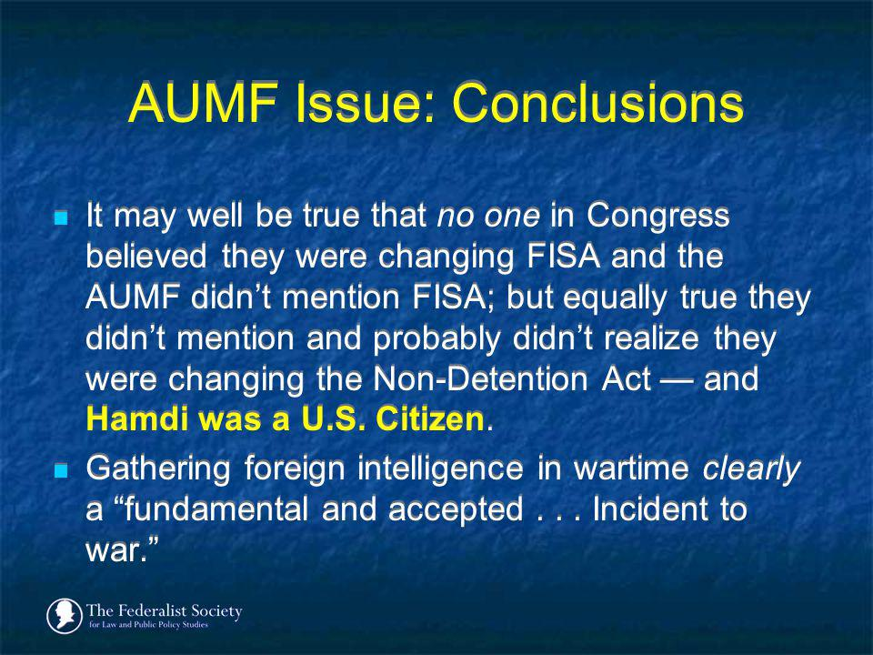 AUMF Issue: Conclusions