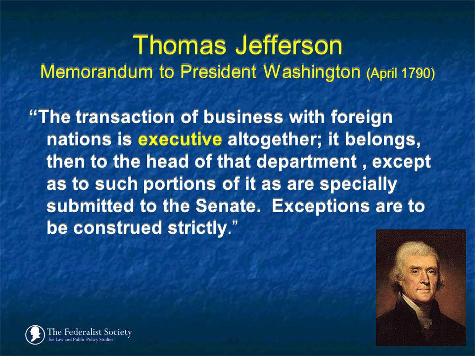 Thomas Jefferson Memorandum to President Washington (April 1790)