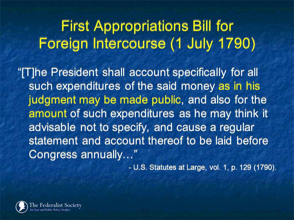 First Appropriations Bill for Foreign Intercourse (1 July 1790)
