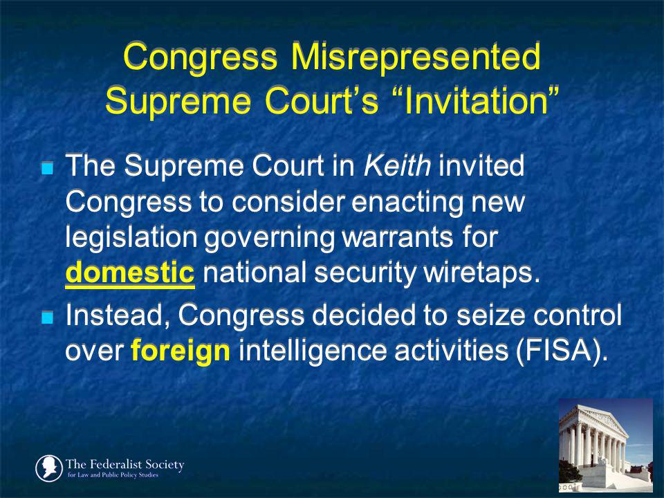 Congress Misrepresented Supreme Court's Invitation