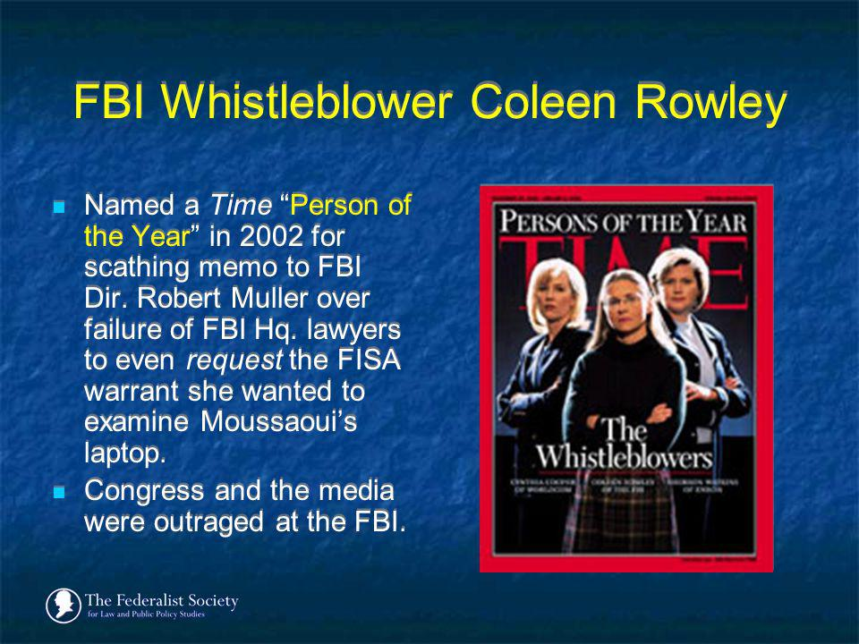 FBI Whistleblower Coleen Rowley