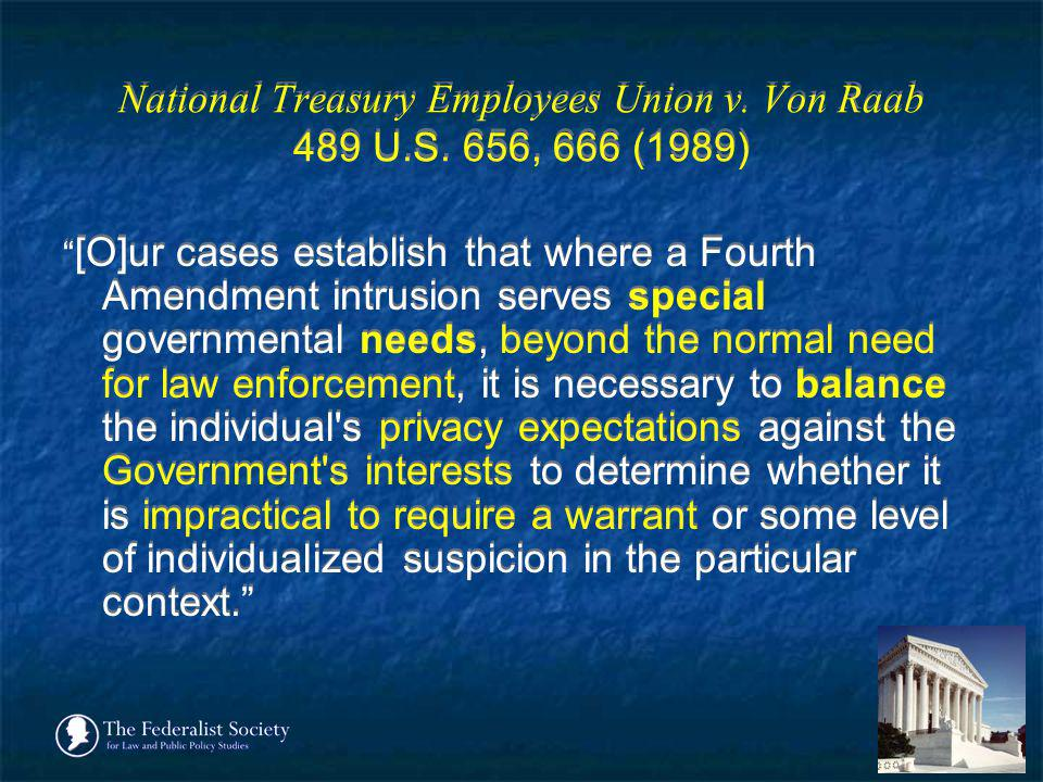 National Treasury Employees Union v. Von Raab 489 U.S. 656, 666 (1989)
