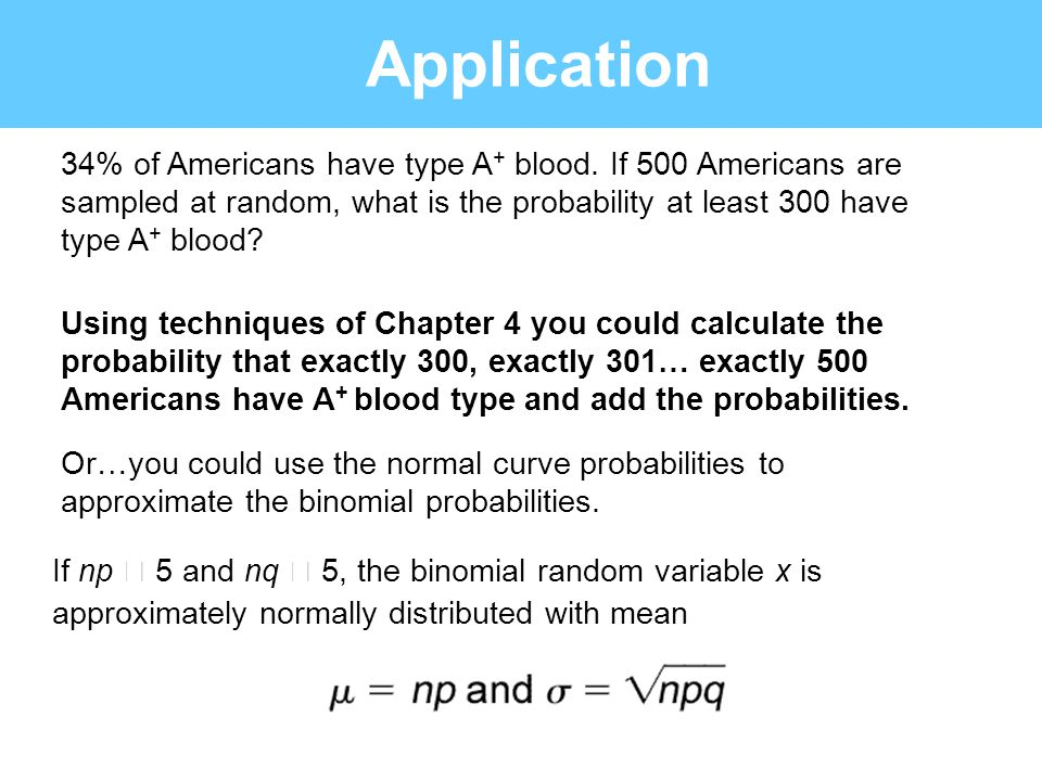 Application 34% of Americans have type A+ blood. If 500 Americans are sampled at random, what is the probability at least 300 have type A+ blood
