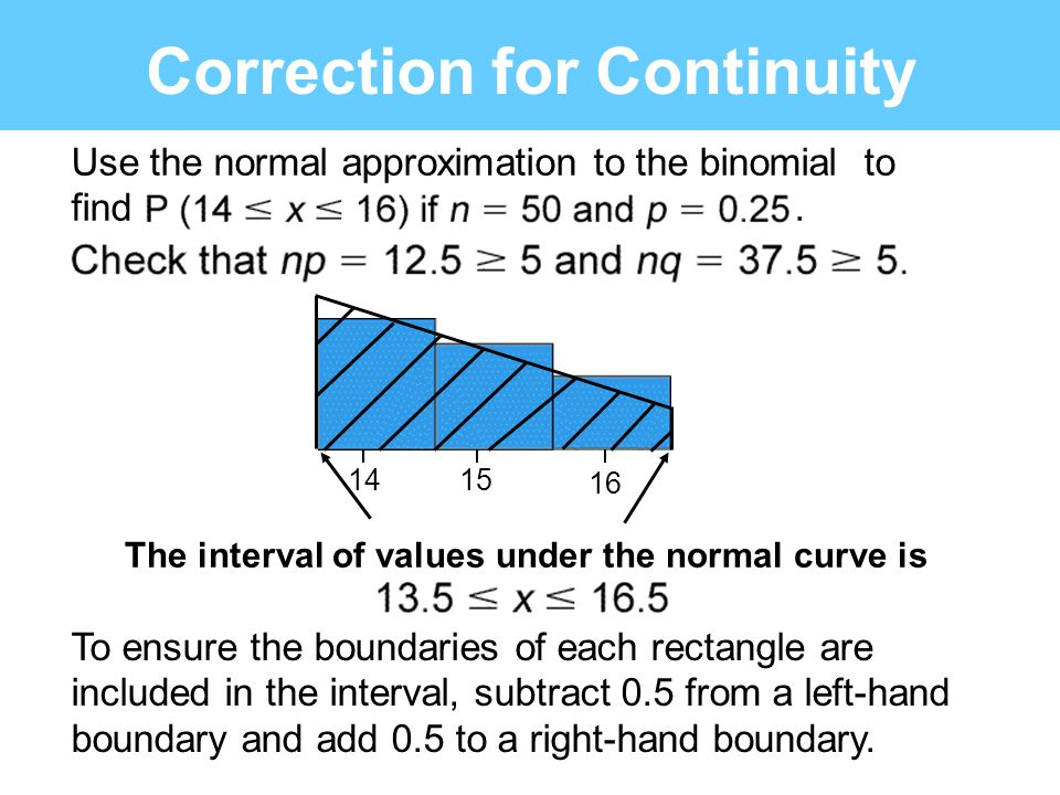 Correction for Continuity