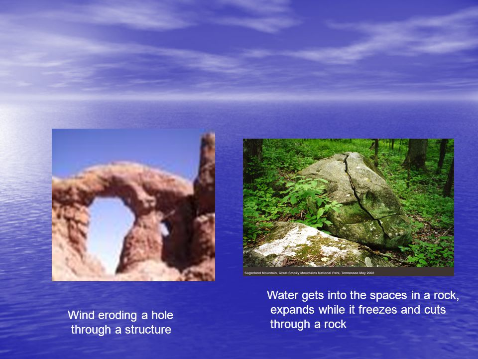 Water gets into the spaces in a rock,