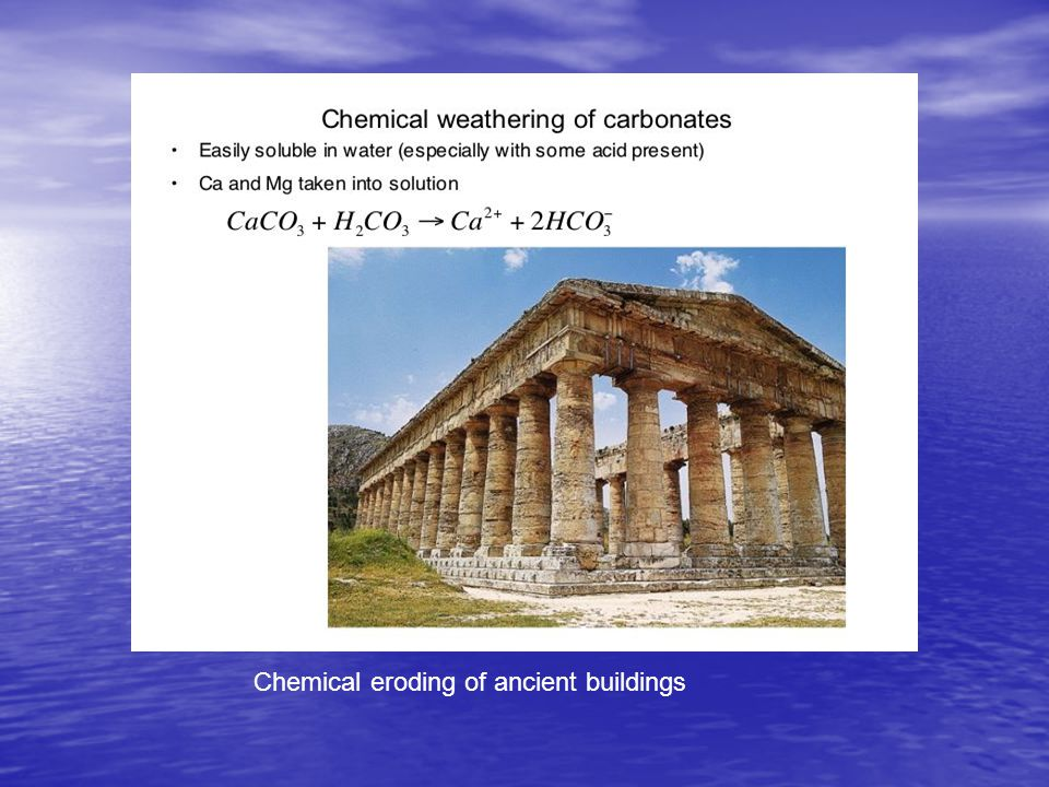 Chemical eroding of ancient buildings