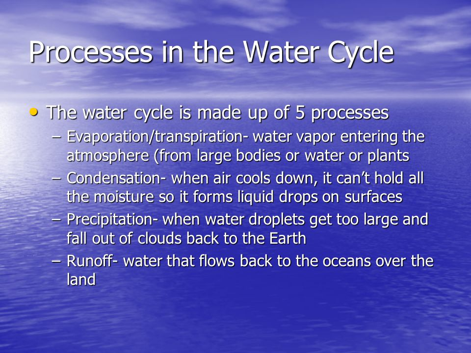 Processes in the Water Cycle