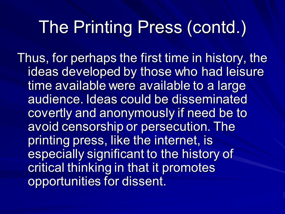 The Printing Press (contd.)