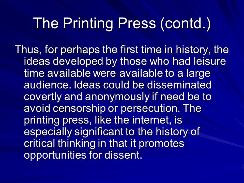The Printing Press (contd.)