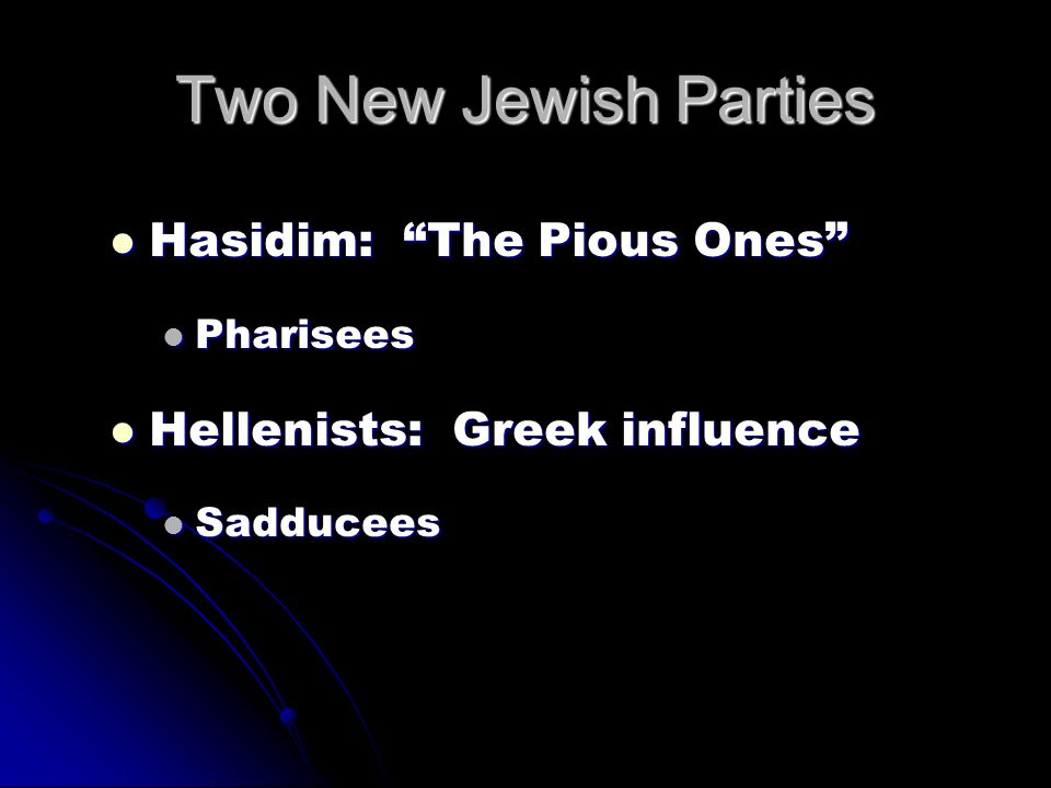 Two New Jewish Parties Hasidim: The Pious Ones