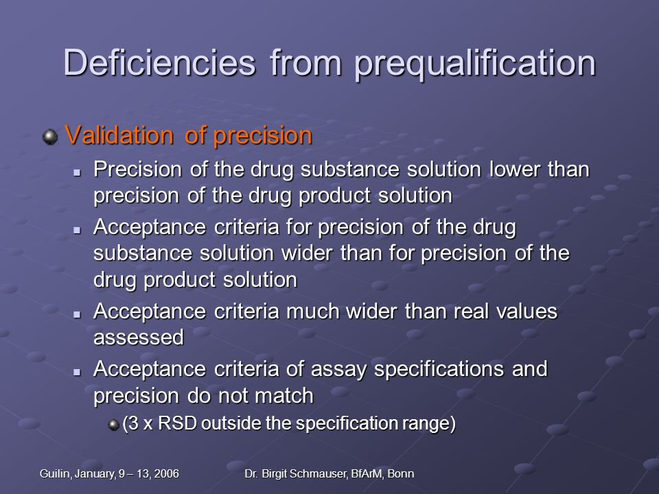 Deficiencies from prequalification