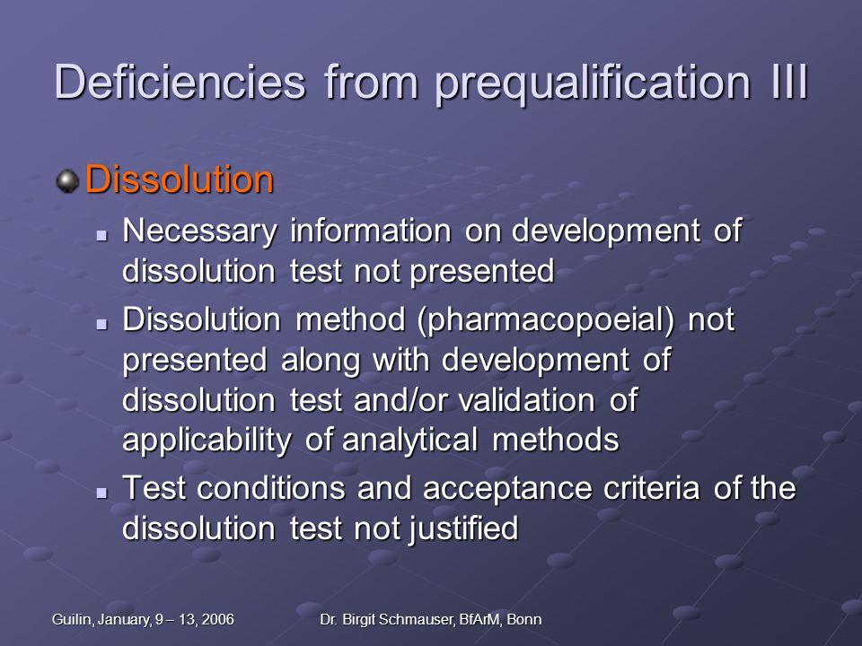 Deficiencies from prequalification III