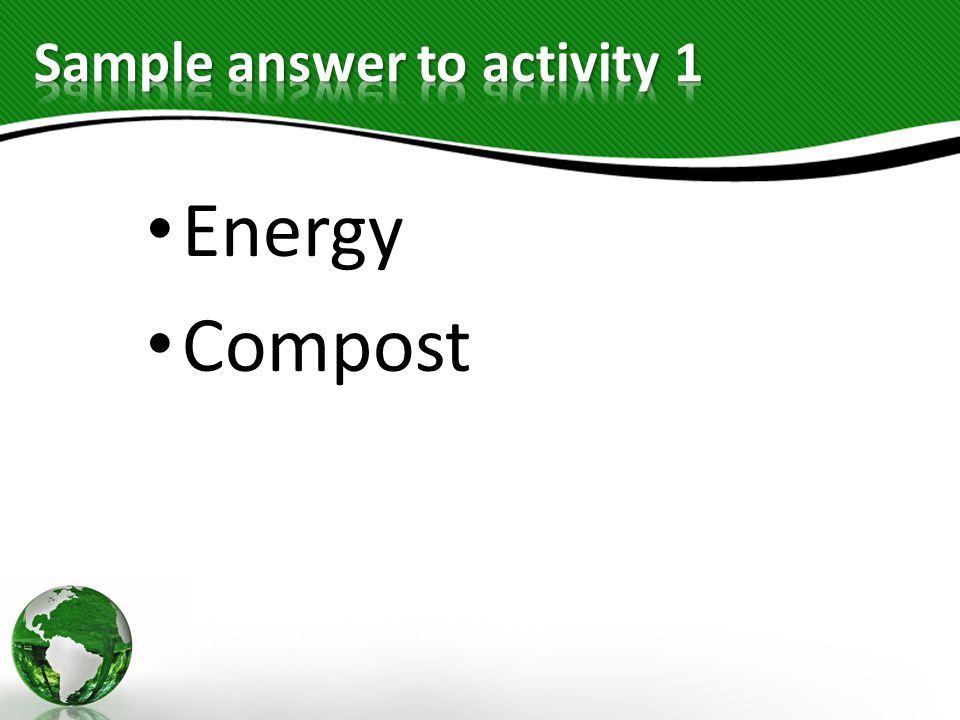 Sample answer to activity 1
