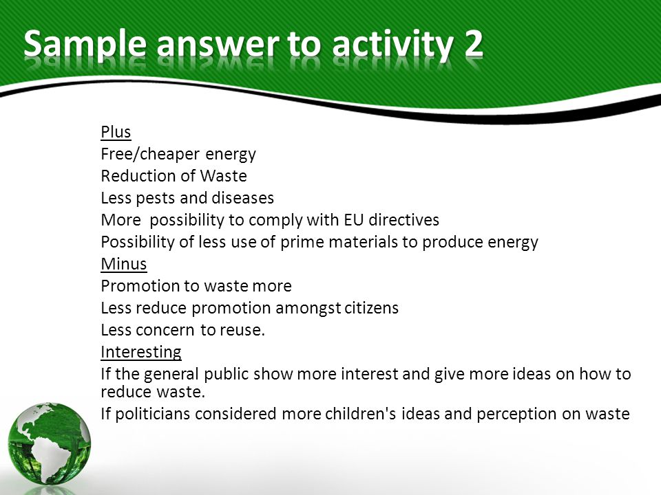 Sample answer to activity 2