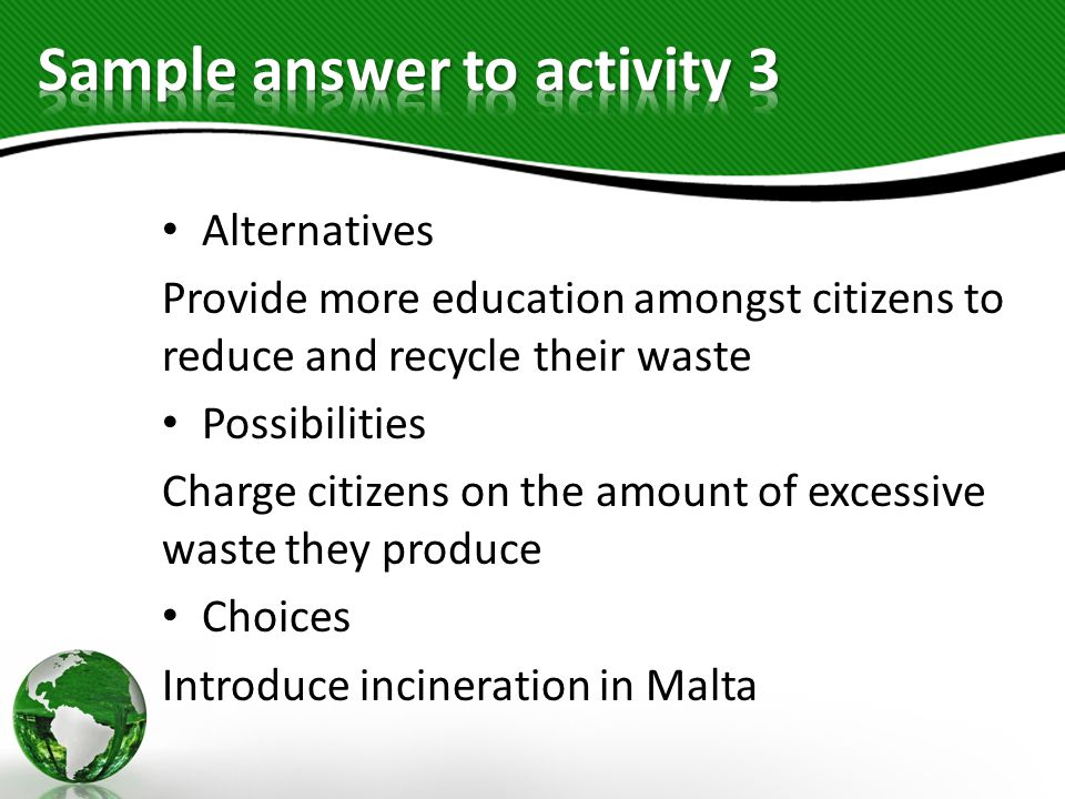 Sample answer to activity 3