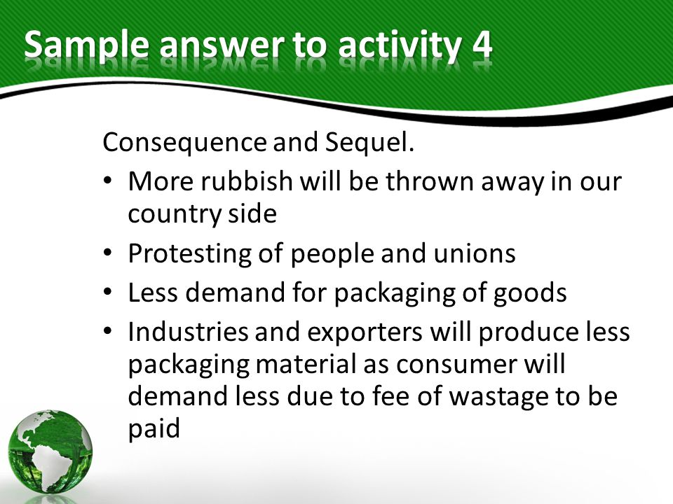 Sample answer to activity 4