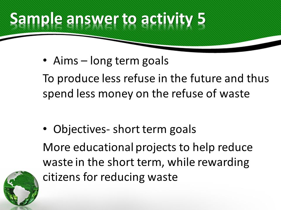 Sample answer to activity 5
