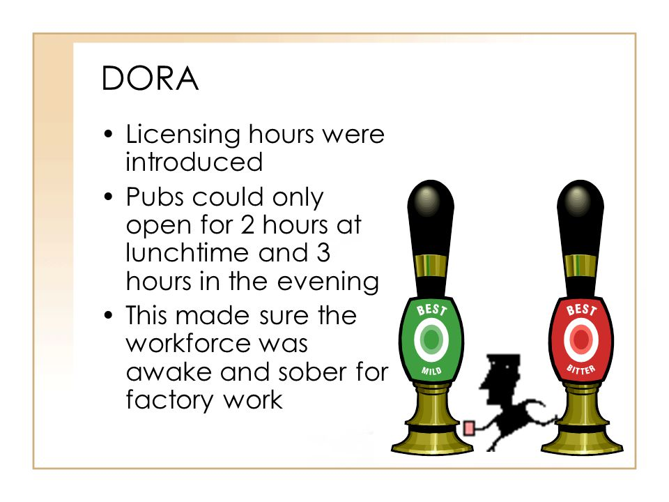 DORA Licensing hours were introduced