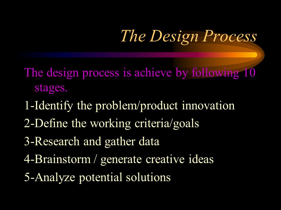 The Design Process The design process is achieve by following 10 stages. 1-Identify the problem/product innovation.