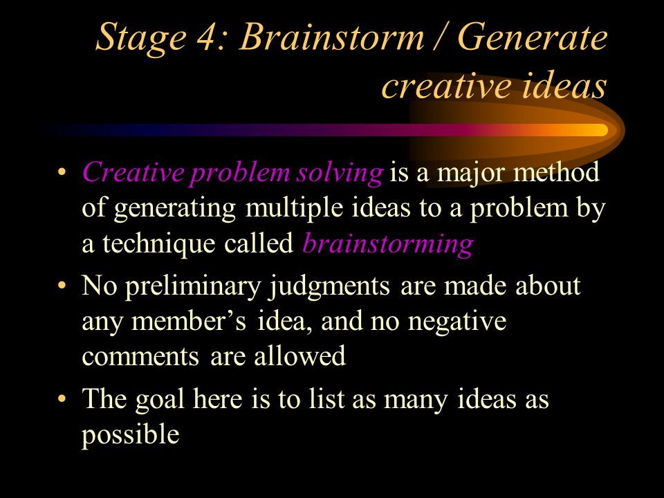 Stage 4: Brainstorm / Generate creative ideas
