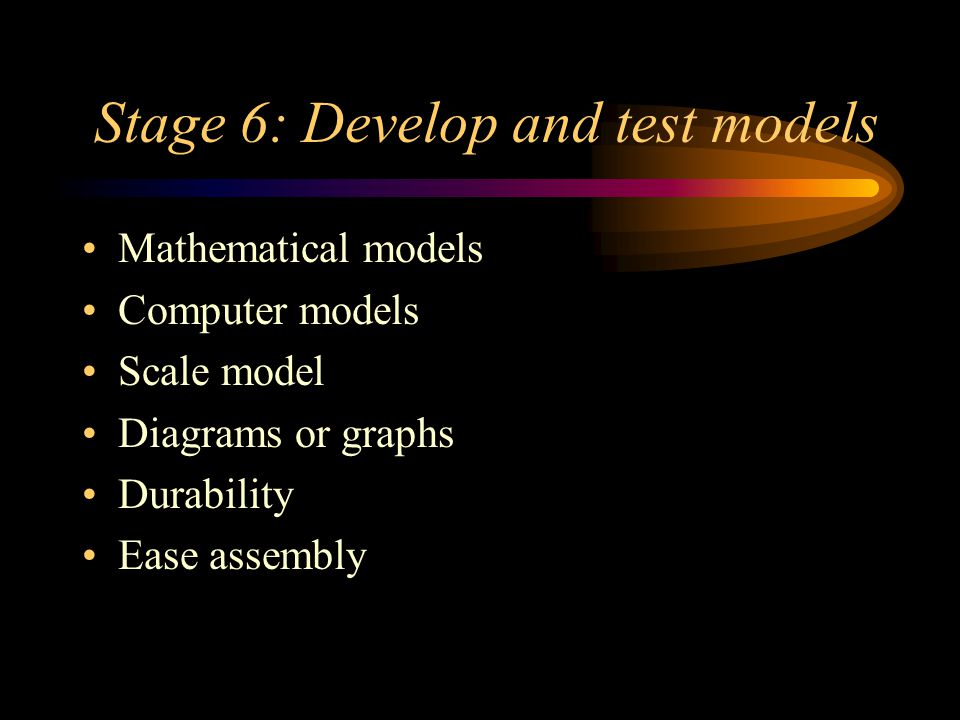 Stage 6: Develop and test models