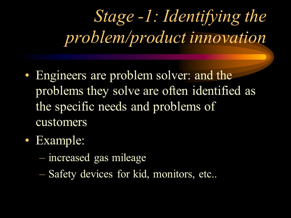 Stage -1: Identifying the problem/product innovation